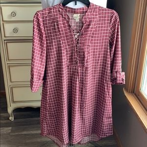 Burgundy and cream shirt dress